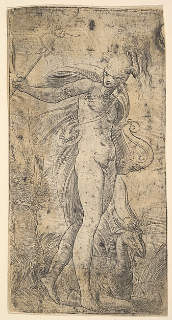 Fascinating Historical Picture of Andrea Schiavone with Mercury standing holding a cadecus in his right hand a lyre in his left in 1536