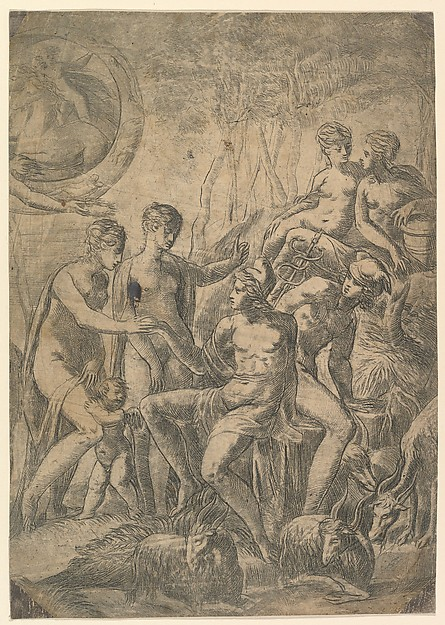 Fascinating Historical Picture of Andrea Schiavone with The Judgment of Paris in 1543