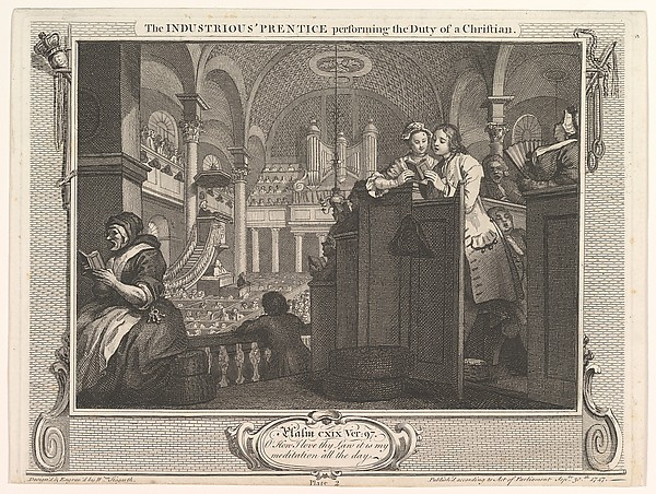 The Industrious 'Prentice Performing the Duty of a Christian (Industry and Idleness, plate 2)