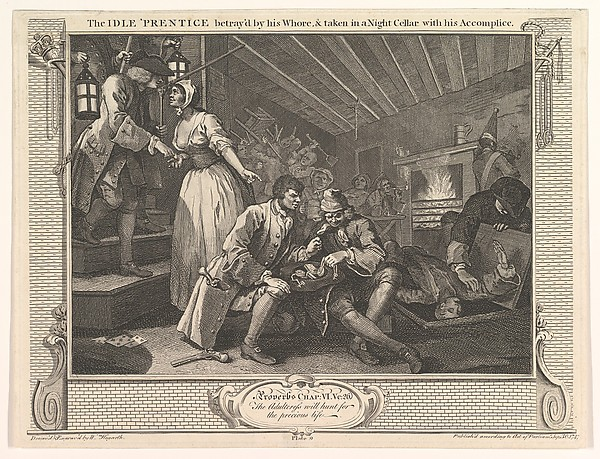 The Idle 'Prentice Betrayed by his Whore and Taken in a Night Cellar with his Accomplice (Industry and Idleness, plate 9)