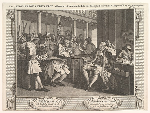 The Industrious 'Prentice Alderman of London, The Idle One Brought Before Him and Impeached by his Accomplices (Industry and Idleness, plate 10)