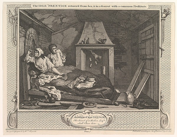 Fascinating Historical Picture of William Hogarth with The Idle Prentice Returned from Sea and in a Garret with a Common Prostitute (Industry and Idleness on 12/30/1747