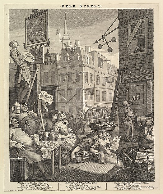 Fascinating Historical Picture of William Hogarth with Beer Street on 2/4/1751