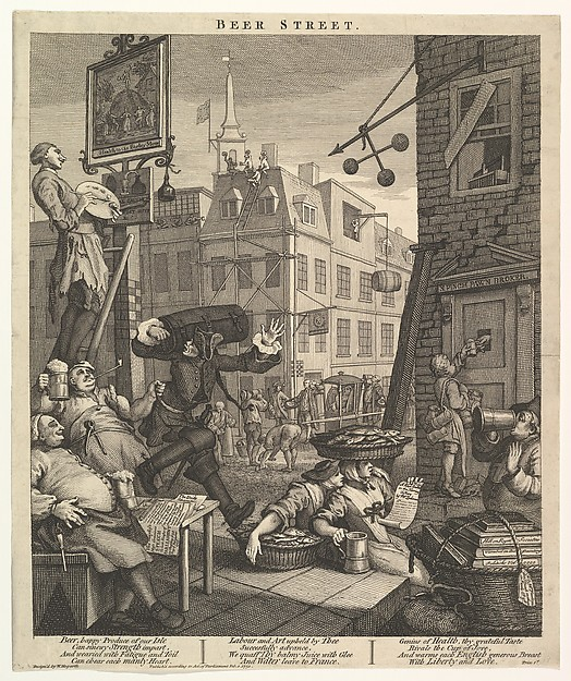 Fascinating Historical Picture of William Hogarth with Beer Street on 2/1/1751