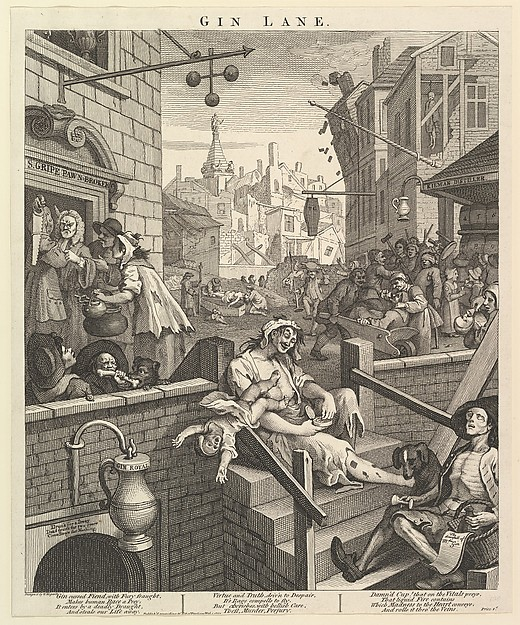 Fascinating Historical Picture of William Hogarth with Gin Lane on 2/1/1751
