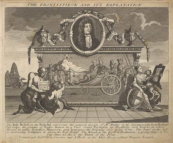 The Frontispiece and Its Explanation (Plate 1: Illustrations to Samuel Butler's Hudibras)