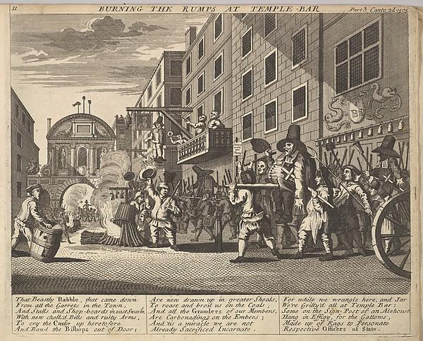 Burning the Rumps at Temple Bar (Plate 11: Illustrations to Samuel Butler's Hudibras)
