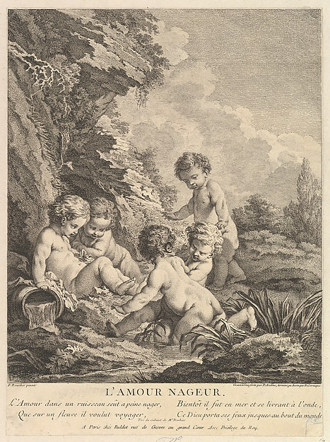 Fascinating Historical Picture of Dominique Sornique with Child Swimming in 1741