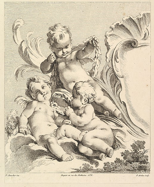 Fascinating Historical Picture of Pierre Alexandre Aveline with Three Loves Next to a Cartouche in 1727