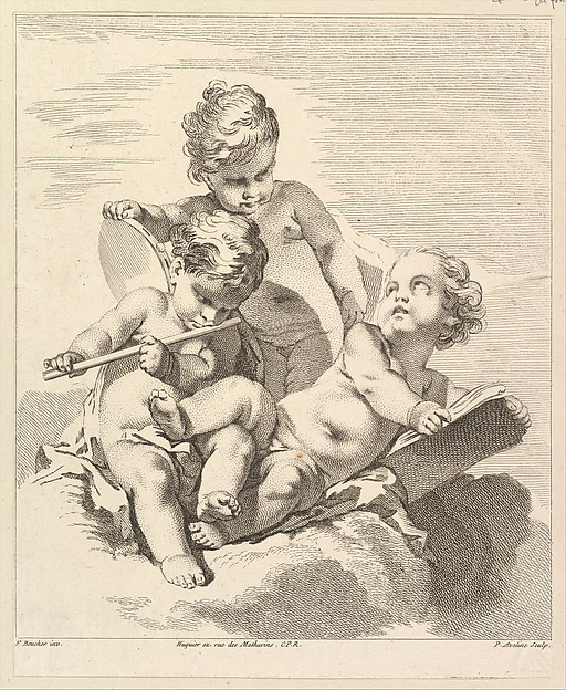 Fascinating Historical Picture of Pierre Alexandre Aveline with Three Loves with Musical Instruments in 1727