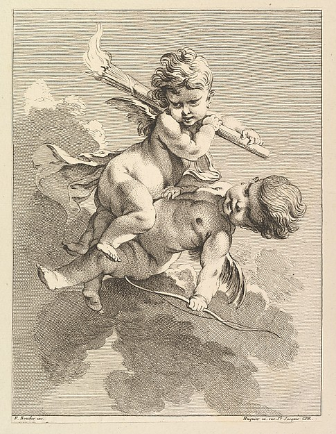 This is What Pierre Alexandre Aveline and Two Cupids One Carrying a Torch Another a Bow Looked Like  in 1727