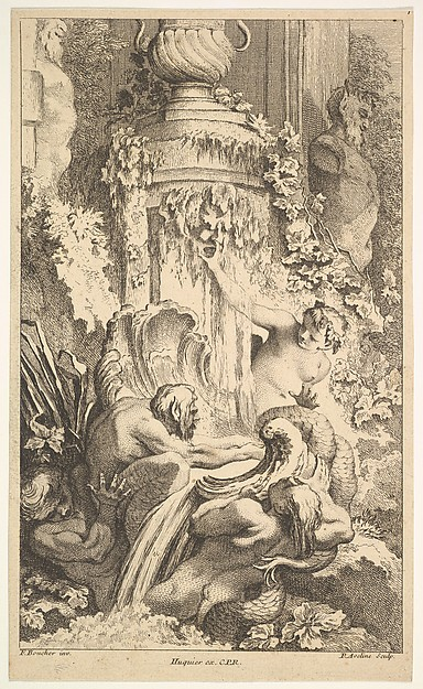 Fascinating Historical Picture of Pierre Alexandre Aveline with Naiades Tritons and the Bath of Priap in 1736