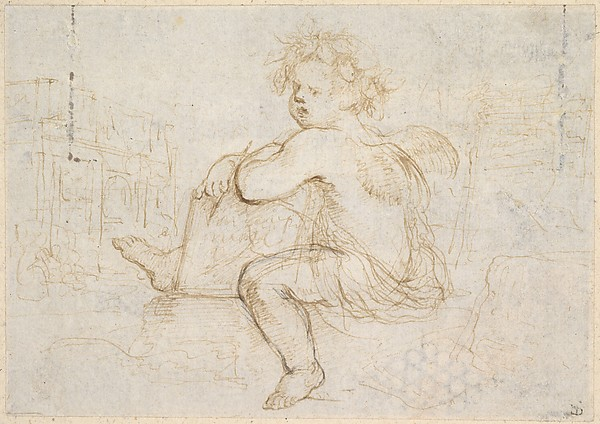 Fascinating Historical Picture of Stefano della Bella with Genie of Drawing in 1610