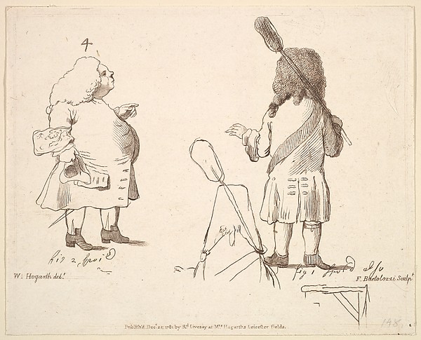 Fascinating Historical Picture of William Hogarth with Caricatures of Lord Melcombe and Lord Winchelsea on 12/22/1781