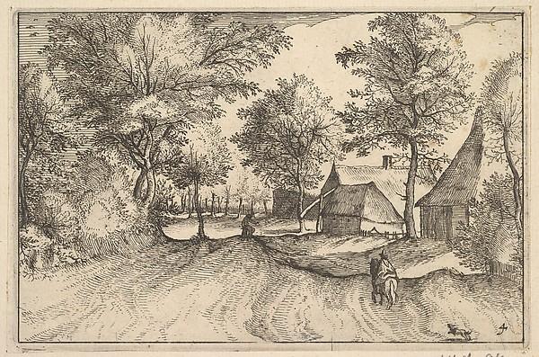 Fascinating Historical Picture of Claes Jansz. Visscher with Village Road from Regiunculae et Villae Aliquot Ducatus Brabantiae in 1610