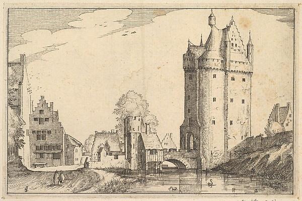 Fascinating Historical Picture of Claes Jansz. Visscher with Town Gate from Regiunculae et Villae Aliquot Ducatus Brabantiae in 1610