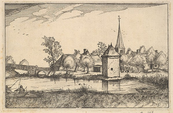 Fascinating Historical Picture of Claes Jansz. Visscher with Pond and a Village from Regiunculae et Villae Aliquot Ducatus Brabantiae in 1610