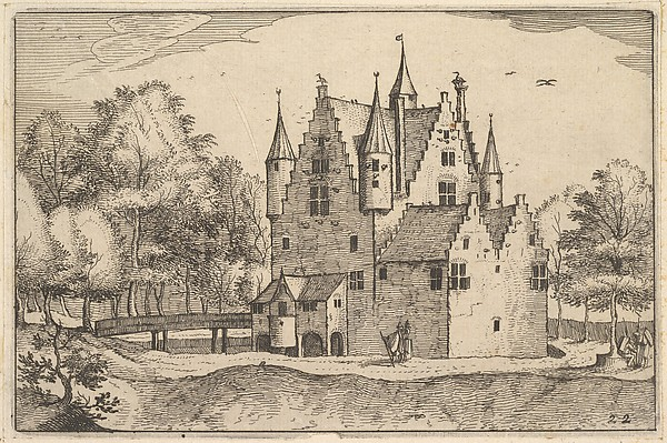 Fascinating Historical Picture of Claes Jansz. Visscher with A Castle from Regiunculae et Villae Aliquot Ducatus Brabantiae in 1610