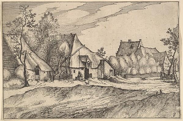 Fascinating Historical Picture of Claes Jansz. Visscher with Farms in a Village from Regiunculae et Villae Aliquot Ducatus Brabantiae in 1610