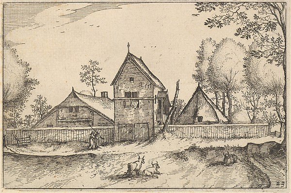 Fascinating Historical Picture of Claes Jansz. Visscher with Large Walled Farm from Regiunculae et Villae Aliquot Ducatus Brabantiae in 1610