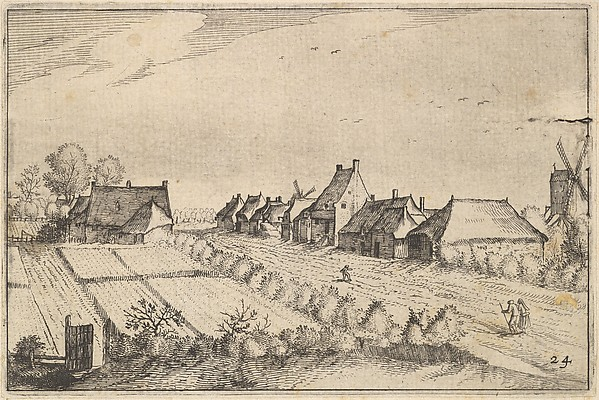 Fascinating Historical Picture of Claes Jansz. Visscher with Fields and a Road from Regiunculae et Villae Aliquot Ducatus Brabantiae in 1610