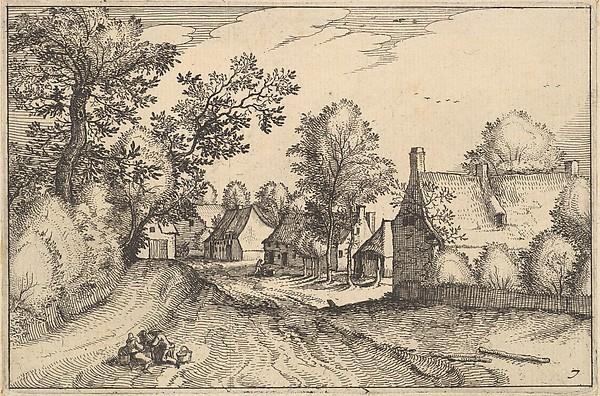 Fascinating Historical Picture of Claes Jansz. Visscher with A Village Road from Regiunculae et Villae Aliquot Ducatus Brabantiae in 1610