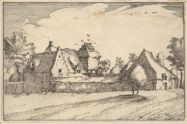 Fascinating Historical Picture of Claes Jansz. Visscher with Walled Farm from Regiunculae et Villae Aliquot Ducatus Brabantiae in 1610