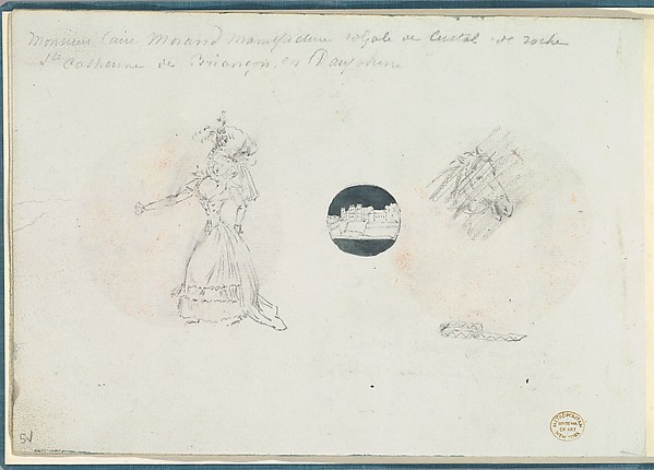 Sketches of a Woman in a Corseted Gown, a Castle, and a Horse's Head