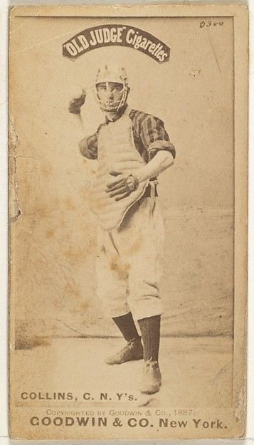 Bill Collins, Catcher, New York, from the Old Judge series (N172) for Old Judge Cigarettes