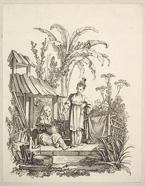 Fascinating Historical Picture of Gabriel Huquier with A Seated Chinese Man and a Woman Carrying a Fish in 1742