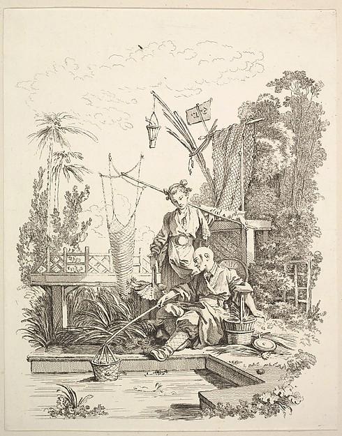 Reclining man fishing, woman with fishing net, from Scenes de la vie Chinoise