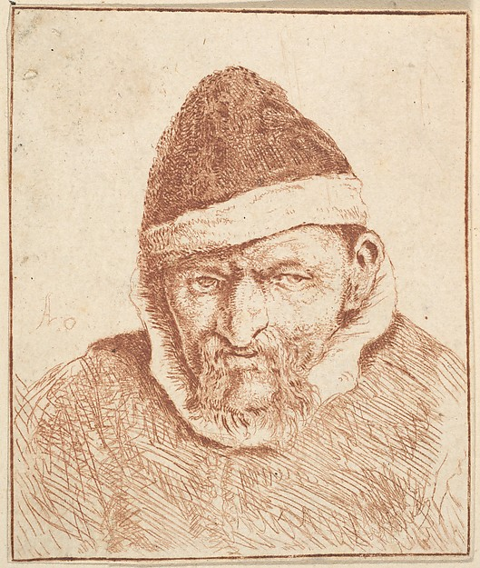 Fascinating Historical Picture of Adriaen van Ostade with Old Man with White Collar and Pointed Hat in 1610