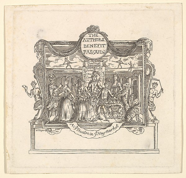 Fascinating Historical Picture of after William Hogarth with The Authors Benefit| Pasquin in 1736