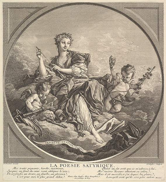 Fascinating Historical Picture of Claude Augustin Duflos le Jeune with Satyrical Poetry in 1741