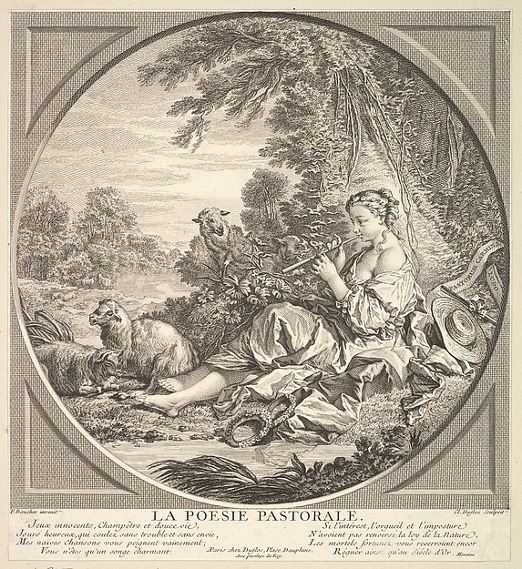 Fascinating Historical Picture of Claude Augustin Duflos le Jeune with Pastoral Poetry in 1742