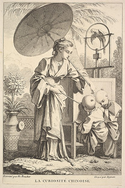 Fascinating Historical Picture of John Ingram with Chinese Curiosities in 1741