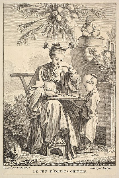 Fascinating Historical Picture of John Ingram with The Game of Chinese Chess in 1741