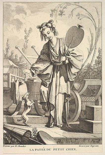 Fascinating Historical Picture of John Ingram with The Small Dog Standing on Hind Legs in 1741