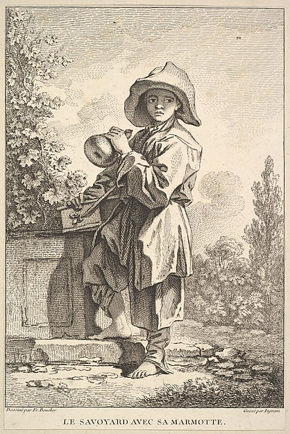 Fascinating Historical Picture of John Ingram with The Savoyard with His Box in 1741