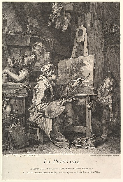 Fascinating Historical Picture of Marie Madeleine Igonet with Painting in 1752