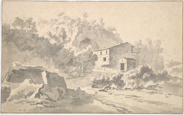 A House on a Hillside in a Southern Landscape