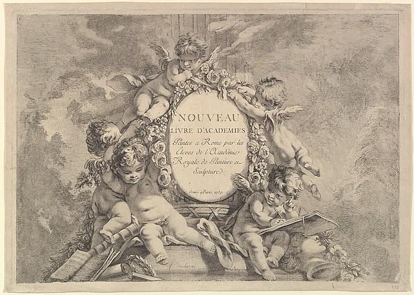 Fascinating Historical Picture of Franois Boucher with Frontispiece from Nouveau Livre dAcademies Peintes a Rome par les Eleves de lAcadmie Royale d in 1759