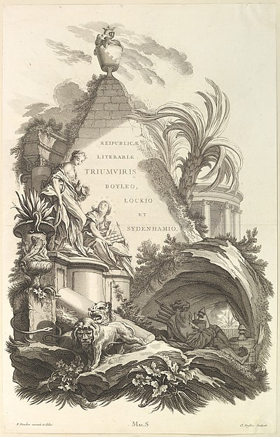 "Frontispice pour le ""Tombeau de Boyle, Locke, et Sydenham"" (Frontispiece for the ""Tomb of Boyle, Locke, and Sydenham""), from Tombeaux des Princes, des Grands Capitaines et autres Hommes illustres (Tombs of Princes, Great Captains, and other Illustrious Men)"