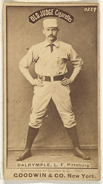 Abner Frank Dalrymple, Left Field, Pittsburgh, from the Old Judge series (N172) for Old Judge Cigarettes