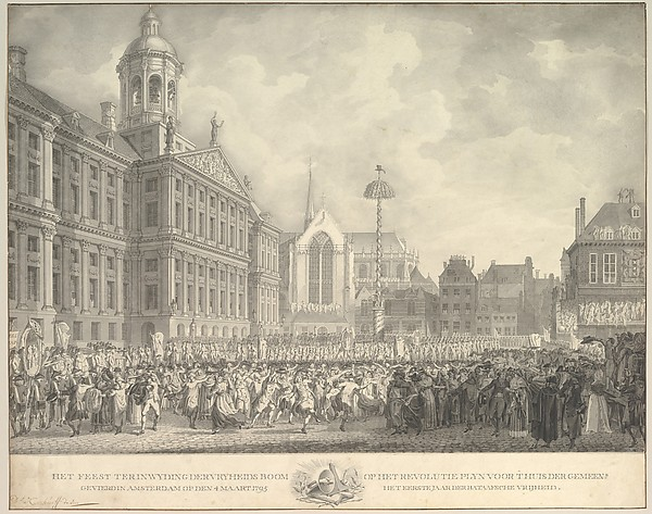 Popular Celebrations in Dam Square, Amsterdam, on 4 March 1795, marking the erection of the Liberty Tree and the success of the Batavian Revolution
