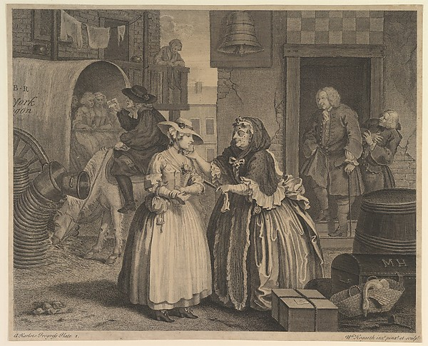 Fascinating Historical Picture of William Hogarth with A Harlots Progress Plate 1 on 4/15/1732