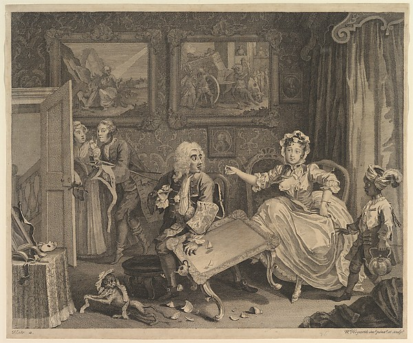 Fascinating Historical Picture of William Hogarth with A Harlots Progress Plate 2 on 4/15/1732