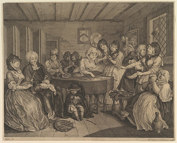 Fascinating Historical Picture of William Hogarth with A Harlots Progress Plate 6 on 4/15/1732