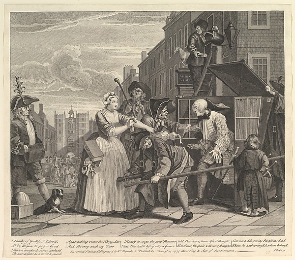 Fascinating Historical Picture of William Hogarth with A Rakes Progress Plate 4 on 6/25/1735