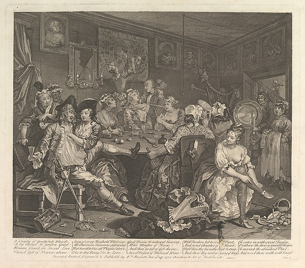 Fascinating Historical Picture of William Hogarth with A Rakes Progress Plate 3 on 6/25/1735